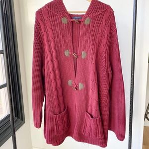 LANDS END Cable Knit Hooded Heavy Cardigan sz 3X